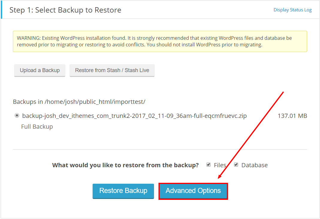 Restore a BackupBuddy Backup - Step 1